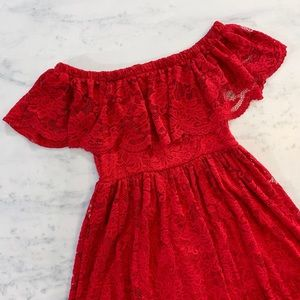 Francesca's Collections Dresses - Red Lace Off Shoulder Flirty Mini Dress